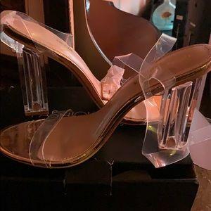 Rose gold clear open toe heels